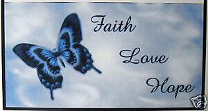 CHECKBOOK COVER FAITH LOVE HOPE  BLUE BUTTERFLY