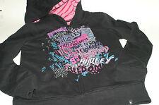 HURLEY Graphic Sherpa Lined Fleece L/S Full Zip Hoodie Sweatshirt XL 14/16 Black