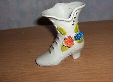 Vintage Cream Porcelain Bisque Shoe Figurine Ceramic Flowers Orange & Blue