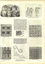 Old Engravings Ancient Mosaics Dog Pavement Chinese House Measurement