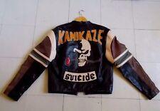 Superbe Ancien Blouson de Moto Vintage en Cuir Kamikaze , Rider Skull Biker