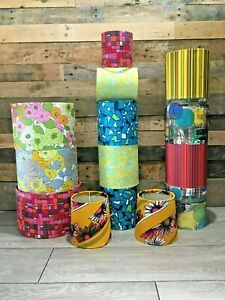 UPCYCLED VINTAGE LIGHT LAMP SHADES ORIGINAL 60S 70S RETRO FABRIC PENDANT CEILING