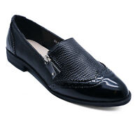 WOMENS FLAT BLACK SMART CASUAL LOAFERS SLIP-ON COMFY WORK BROGUE SHOES UK 3-8