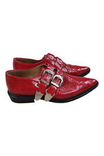 TOGA PULLA Rockstar Style Red Patent Python Leather Cowboy Ankle Boots (38)
