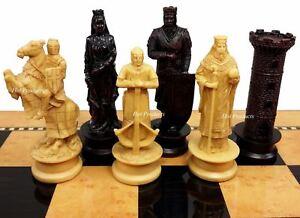 Medieval Times Crusades KING RICHARD Chess Men Set Antique Color - NO BOARD