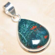 """Handmade Natural Bloodstone Jasper 925 Sterling Silver Pendant 1.75"""" #P07670"""