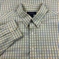 Brooks Brothers Non-Iron Dress Shirt Mens XL Yellow Blue Check Standard Cuff
