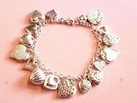 EXCELLENT Vintage STERLING SILVER 17 HEARTS CHARM BRACELET PUFFY CUT STIPPLED 8""