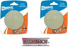 Chuckit Max Glow Ball Large 2pk Pack Dog Toy For in the Dark Fetch
