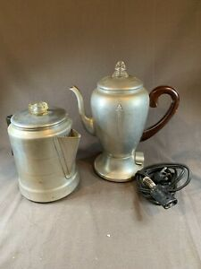 Vintage Mirro-Matic Aluminum Coffee Maker Pot & Cord + Comete Pot C628
