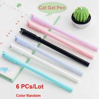 6pcs/set Cute Cat Gel Pen 0.5mm Black Ink Pens Kawaii Stationery School Supply