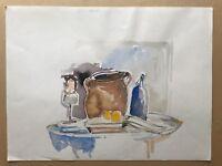 Acquerello Impressionista Natura Morta con Limoni, Brocca e Candelabro 40x30 CM