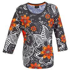 Laurel Burch Floral Black & White T Shirt 3/4 Sleeve Polyester Scoop Neck LARGE