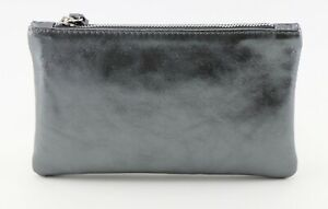 Ladies womens stylish genuine leather metallic pewter grey clutch purse wristlet