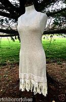 NEW Anthropologie oatmeal Stretch Fringe Bodycon Tassel Hem Dress S