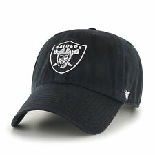 Oakland Raiders '47 Brand Black Clean Up Adjustable Dad Hat