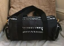 BRAND NEW WITH TAGS BLACK & SILVER ANIMAL PRINT MATERIAL SPORTS/TRAVEL BAG
