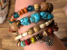 Crystal beads Memory Wire bangle Bracelet Chunky Multi Color Genuine Gemstone &