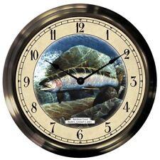 "Trintec 14"" Rainbow Trout Antique Brass Fishing Clock AB14-06-RT Fantastic Gift!"