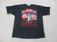 VINTAGE Starter New Jersey Devils Shirt Adult Extra Large Black Stanley Cup 90s