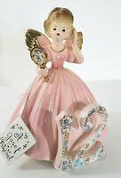 Vintage Josef Originals 12 Birthday Angel Pink Dress Porcelain Figurine Mirror