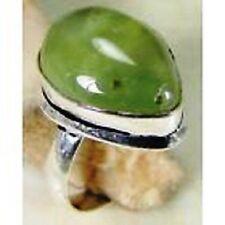 Prehnite & 925 Silver Handmade Designer Stylish Ring Size N G82-34258