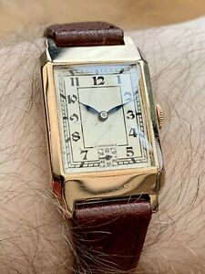 Vintage 1938 Men's ROTARY *9ct Solid Gold* (375) Tank Style Case. Swiss-Made.