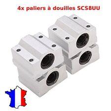 4x SCS8UU SC8UU 8mm Paliers douilles à billes  - roulement lineaire avec support