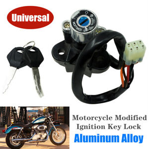 Universal Motorcycle Modified Ignition Key Lock Set Switch CNC Aluminum Alloy
