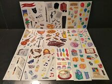 VINTAGE CREATIVE MEMORIES Stickers Lot Mix Food Music Stickers 14 Sheets VTG