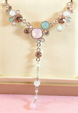 """Beautiful genuine Swarovski 'Gisele"""" necklace with green & pink coloured crystal"""