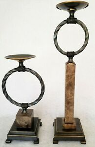 Uttermost Tall Candleholders Set of 2 Stone and Metal 15in and 23in tall