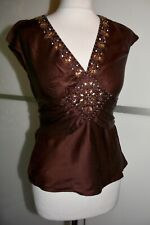 JANE NORMAN BROWN SATIN SILK BEADED TOP SIZE 10 VGC