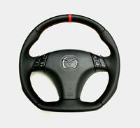 FLAT BOTTOM STEERING WHEEL MAZDASPEED MAZDA 6 MPS LEATHER ! R8 STYLE
