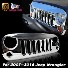 For 2007-2016 Jeep Wrangler JK Front Triple Chrome Angry Bird Grilles Grid Shell