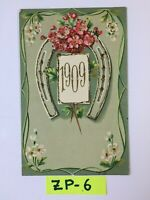 C.1909 Red Pink Flowers Embossed and White flowers OLD Vintage Postcard ZP-6