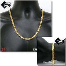 """24""""MEN Stainless Steel 6mm Gold Miami Cuban Curb Chain Necklace Bracelet*GS155"""
