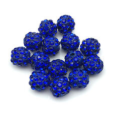 20Pc Lot Blue Wholesale Micro Pave Disco Crystal Shamballa Beads Bracelet Spacer