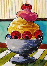 ORIGINAL ACEO  Ice Cream  painting JMW art John Williams ATC Ink Watercolor