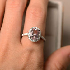 2.30 Ct Oval Cut Morganite Wedding Band Sets 14K Solid White Gold Diamond Rings