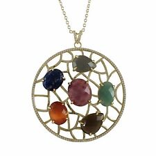 Womens Gold Finish Sterling Silver Multi Color Semi Precious Pendant Necklace