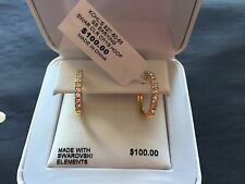 Present Crystal Hoop Earrings Made with Swarovski Elements Gold Plated
