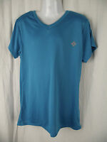 BNWT Girls Size 10 Aqua Blue Sports Ltd Short Sleeve V Neck Sports Athletics Top
