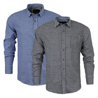 Mens Long Sleeved Shirt Brave Soul 'Blaze' Gingham Check Cotton Collared S-XL