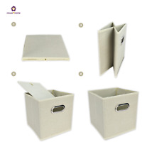 4X Foldable Canvas Storage Collapsible Folding Box Fabric Cube Cloth Basket Bags
