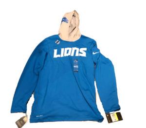 New NWT Detroit Lions Nike Dri-Fit Helmet Size Small Long Sleeve Hoodie Shirt