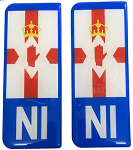 2x NI Big Flag Blue Gel Domed Number Plate Decals
