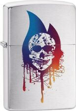 Zippo Skull Colorful Flame Design Brushed Chrome Windproof Lighter 29721 **NEW**