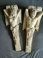 Pair of Thor Lopez Nude Man & Woman Gypsum Mixture Wall Sculpture Hanging Heavy