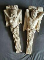Pair of Thor Lopez Nude Man & Woman Gypsum Mixture Wall SculptUr Hanging Heavy👀